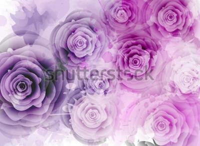 Naklejka Abstrakcjonistyczny tło z różami i grunge pluśnięcia elementami