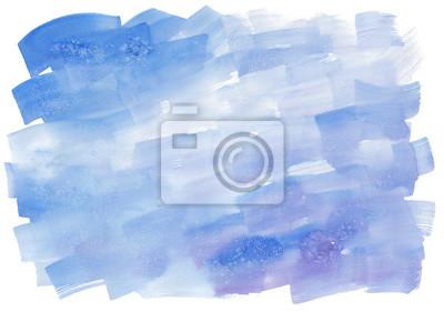 Abstrakcyjna Akwarele ręcznie malowane tekstury z pociągnięciami pędzla w kolorach niebieskim, odizolowane na białym tle.