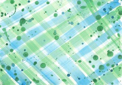 Abstrakcyjna Akwarele tekstury sprawdzanych pociągnięciami pędzla i krople w kolorach niebieskim i zielonym na białym tle.