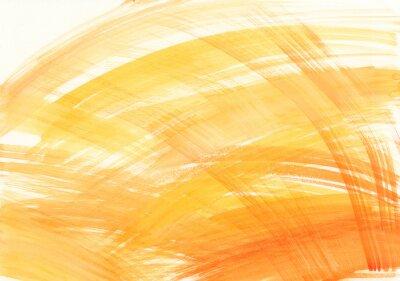 Abstrakcyjna Akwarele tekstury z pociągnięciami pędzla w żółtych i pomarańczowych kolorach na białym tle.