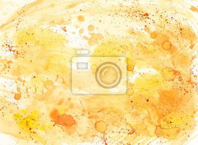 Abstrakcyjna Akwarele tła z kropli i plam w kolorze żółtym i pomarańczowym.
