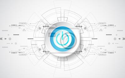 Naklejka Abstrakcyjna technologii cyfrowych przycisk zasilania. Wektor tła