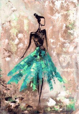 abstrakcyjne kobieta w sukience, obraz olejny