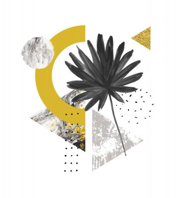 Naklejka Abstrakcyjne kształty geometryczne lato, egzotyczny liść. Trójkąty wypełnione marmurem, tekstury grunge, gryzmoły, liść palmowy fanem akwarela. Ręcznie malowane ilustracja sztuki geometrycznej w nowoc