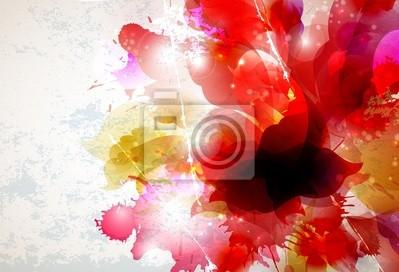 Abstrakcyjne tło z elementami czerwone i różowe kwiaty tworzą