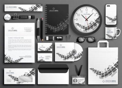 abstrakcyjny zestaw czarno-białych papeterii biznesowych