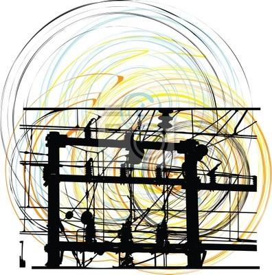 Abstrakt elektryczne kable zasilające. Ilustracja wektorowa