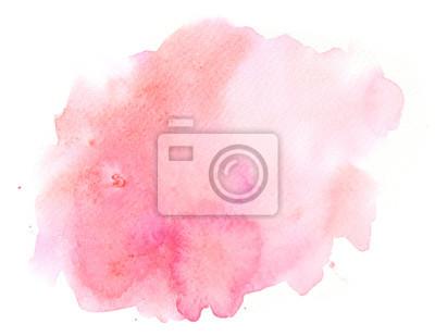 Naklejka Abstrakta różowa akwareli tła tekstura na bielu, ręka malująca na papierze