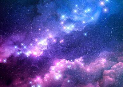 Naklejka Abstrakta różowy i błękitny galaxy tło wypełniał z jaskrawymi gwiazdami. Ilustracja rastrowa.