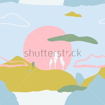 Naklejka Abstrakta wzór z zmierzchem na góry. Artystyczny współczesny natura tekstura. Gotowe pomysły na projekt plakatu, modnej karty, zaproszenia, plakietki, broszury, ulotki, prezentacje i wiele więcej.