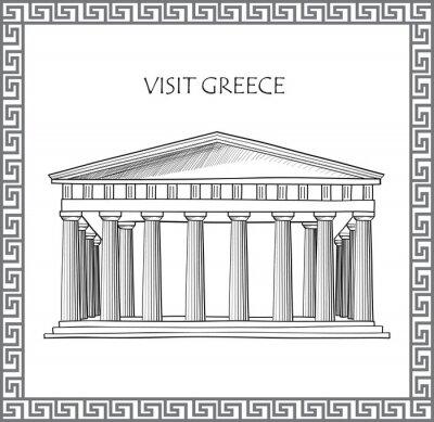 Naklejka Acropolis in Athens, Greece. Visit Greece card. Ornamental traditional greek vector frame.