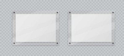Naklejka Acrylic frame mockup, two horizontal glass plate for poster of photo, realistic mockup isolated hanging on transparent wall. White blank banners on plexiglass display, 3d vector illustration.