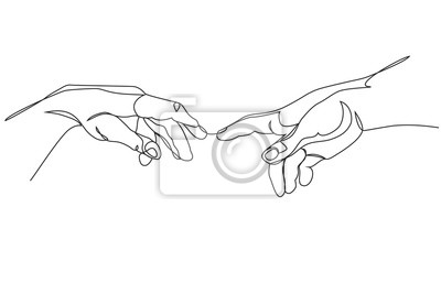 Naklejka Adam and God hands one line drawing on white isolated background