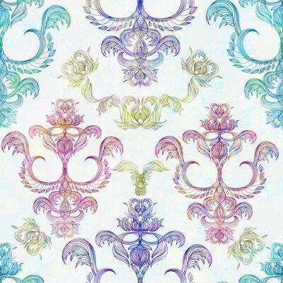 Naklejka Adamaszek bezproblemową kwiatowy wzór. Królewski tapety. Kwiaty na tle róży. EPS 10