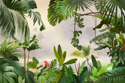 Naklejka adorable background design with tropical palm and banana leaves, can be used as background, wallpaper