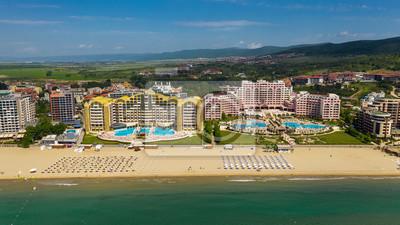 Naklejka Aerial panoramic view of sea resort Sunny Beach, Bulgaria