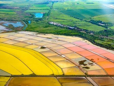 Naklejka Aerial view of salt pans near Burgas, Bulgaria