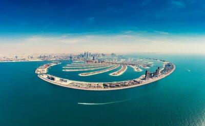 Naklejka Aerial view on Palm Jumeira island in Dubai, UAE, on a summer day.