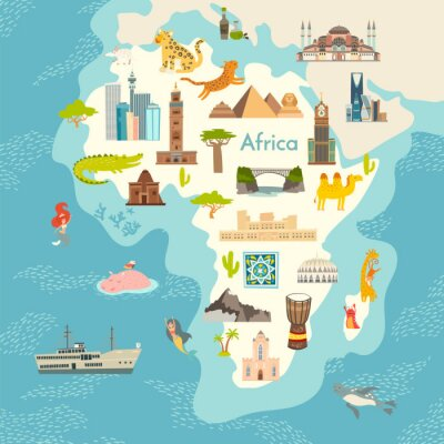 Naklejka Africa continent, world map with landmarks vector cartoon illustration. Abstract African landmarks, animals, sign and icon cartoon style.  Poster, art, travel card