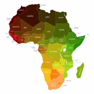 Naklejka Afryka Mapa kolorowe kształty Kraje