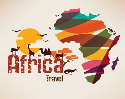 Naklejka Afryka mapa podróże, decrative symbolem kontynentu Afryki z ETH