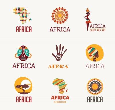 Naklejka Afryka, Safari zestaw ikon i elementów
