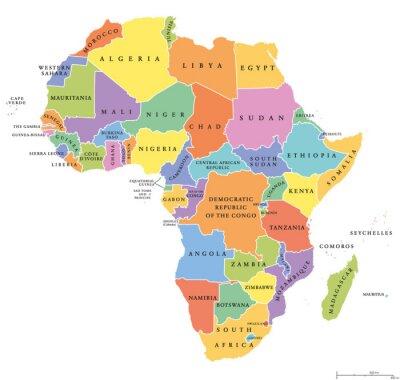 Naklejka Afryka singiel stanowi mapę polityczną. Każdy kraj posiada własny obszar koloru. Z granicami państwowymi na białym tle. Kontynent tym Madagaskarze i wyspiarskich państw. English etykietowania.