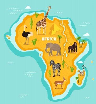 Naklejka afrykańskich zwierząt dzikich zwierząt ilustracji wektorowych. strusie afrykańskie, fauny, żyrafa, słoń, małpa, zebra, lemur, antylopy w stylu kreskówki. Kontynent afrykański w niebieskim oceanie z dz