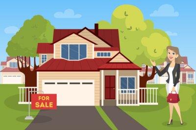 Agent nieruchomości lub agent nieruchomości pokazuje dom na sprzedaż.