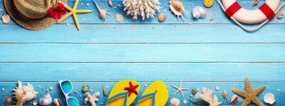Naklejka Akcesoria Plażowe Na Niebieskim Plank - Holiday Holiday Banner
