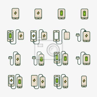 Akumulator Telefoniczny Akumulatora Telefon Minimalistyczny Kolor Płaski Linia Zarys Szkic Ikona Piktogram Zestaw Symbolów