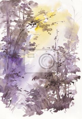 Akwarela abstrakcyjny krajobraz, drzewa w słońcu.