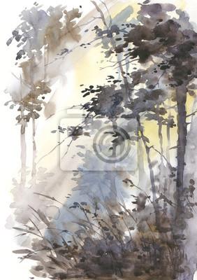 Akwarela abstrakcyjny krajobraz, las w słońcu.