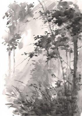 Akwarela abstrakcyjny krajobraz, las w słońcu, wersja monochromatyczna.