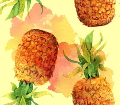 Naklejka Akwarela ananas bezszwowe tło wzór