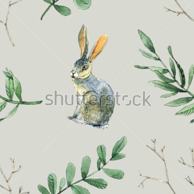 Naklejka Akwarela bez wzoru wzoru z królików, liści i gałęzi będzie dobry do pakowania prezentów, projektowania pudełek, kart i kart z pozdrowieniami tła i itp.