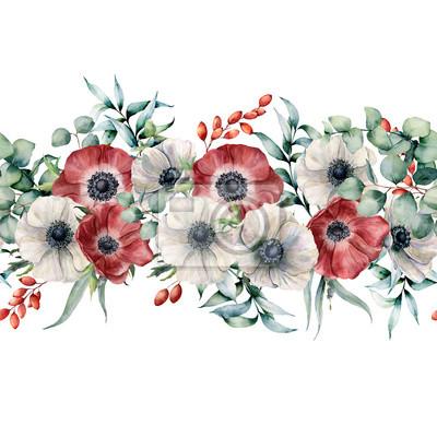 Akwarela bezszwowe bukiet z biało -czerwone zawilce. Ręcznie malowane kwiaty z liści eukaliptusa i gałęzi, jagody na białym tle. Kwiecista elegancka ilustracja dla projekta, druk