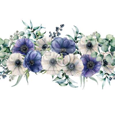 Akwarela bezszwowe bukiet z zawilce niebieski i biały. Ręcznie malowane kwiaty z liści eukaliptusa i gałęzi, jagody na białym tle. Kwiecista elegancka ilustracja dla projekta, druk