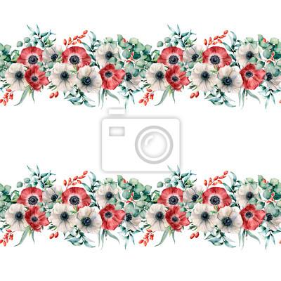 Akwarela bezszwowe granica z biało -czerwone zawilce. Ręcznie malowane kwiaty z liści eukaliptusa i gałęzi, jagody na białym tle. Kwiecista elegancka ilustracja dla projekta, druk