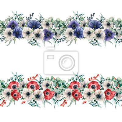 Akwarela bezszwowe granica z zawilce czerwony, niebieski i biały. Ręcznie malowane kwiaty z liści eukaliptusa i gałęzi, jagody na białym tle. Kwiecista elegancka ilustracja dla projekta.