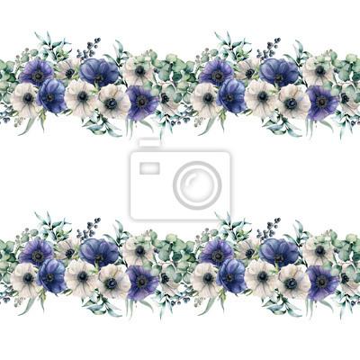 Akwarela bezszwowe granica z zawilce niebieski i biały. Ręcznie malowane kwiaty z liści eukaliptusa i gałęzi, jagody na białym tle. Kwiecista elegancka ilustracja dla projekta, druk