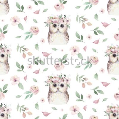 Naklejka Akwarela bezszwowe strony ilustrowany kwiatowy wzór z kwiatowy liść, różowe kwiaty i mała sowa dziecka. Akwareli boho wiosny tapety tła botaniczna tkanina