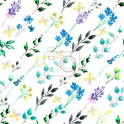 Akwarela bezszwowe tło wzór kwiatowy. Tekstura tkanina tapeta. Idealnie pasuje do tła, tekstury, wzoru opakowania, ramki lub obramowania.