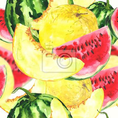 Akwarela bezszwowe tło z melona i arbuza