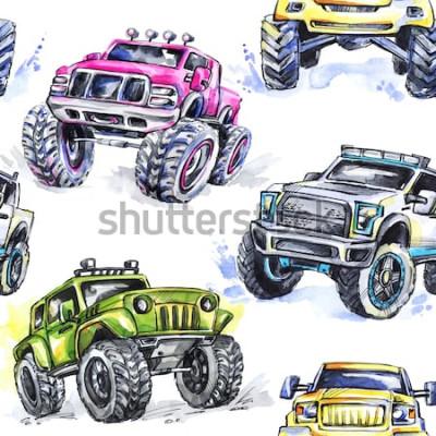 Naklejka Akwarela bezszwowe wzór Cartoon Monster Trucks. Kolorowe tło sportów ekstremalnych. 4x4. SUV pojazdu terenowego. Styl życia. Hobby człowieka.