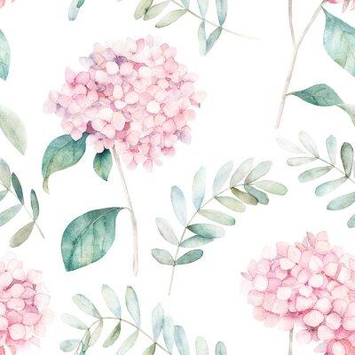 Akwarela bezszwowe wzór. Vintage druk z kwiatami hortensji i gałęziami eukaliptusa. Ręcznie rysowane ilustracja