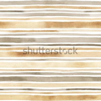 Naklejka Akwarela bezszwowe wzór w paski. Ręcznie rysowane tła w paski akwarela