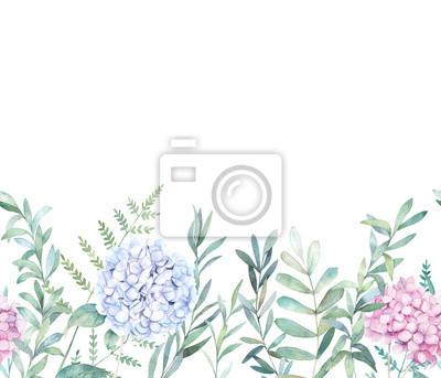 Akwarela bezszwowe wzór z gałęzi eukaliptusa, paproci i hortensji. Ręcznie rysowane ilustracji botanicznej. Tło kwiatowy