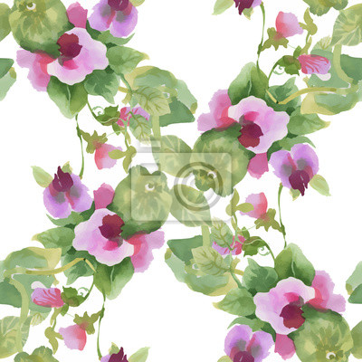 Akwarela bezszwowe wzór z kolorowych kwiatów i liści na białym tle, akwarela kwiatowy wzór, kwiaty w pastelowym kolorze, dachówka tapety, karty lub tkaniny.
