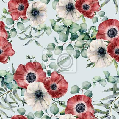 Akwarela bezszwowe wzór z liści eukaliptusa i zawilec. Ręcznie malowane czerwone i białe anemony, zielony brunch na niebieskim tle pastelowych. Kwiecista botaniczna ilustracja dla projekta lub tła.